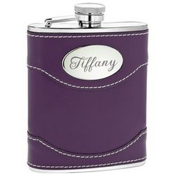 Purple Leather Flask