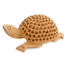 """Lucky Turtle"" Wood Statuette"