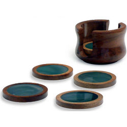 'Amazon Emerald' Green Agate and Cedar Coaster Set