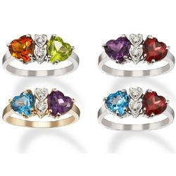 Personalized Diamond and Double Heart Couples Birthstone Ring