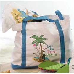 Let The Fun Begin Cavas Beach Bag