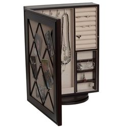 Royale Revolving Mirrored Wooden Jewelry Case in Java Finish