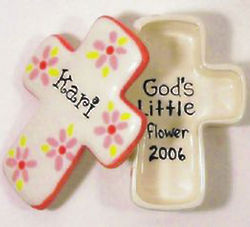 Personalized Ceramic Cross Box with Flowers