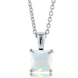 Sterling Silver Princess CZ Solitaire Birthstone Pendant