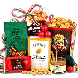 Dipping Pretzels and Caramel Popcorn Christmas Basket
