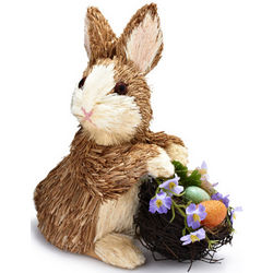 Decorative Grass Bunny with Easter Eggs