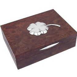 Four Leaf Clover Silver and Wood Jewelry Box