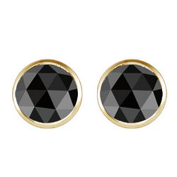 0.5 Ct Round Black Diamond Stud Earrings in 14K Yellow Gold
