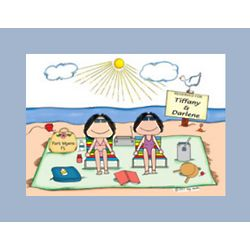 Personalized Beach Sunbathers Cartoon