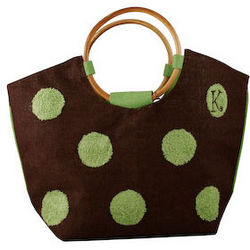 Embroidered Polka Dots Tote Bag