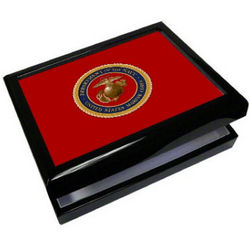Personalized Military Box with Black Piano Finish