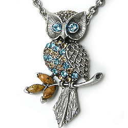 Crystal Owl Necklace with Love Clasp
