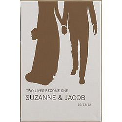 Perfect Couple Bride & Groom Silhouette Canvas Print