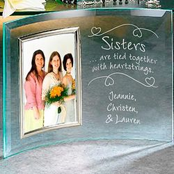 Personalized 3.5x5 Sisters Heartstrings Beveled Frame