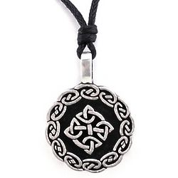 Celtic Pewter Necklace with Black Rope Chain