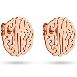 Rose Gold Vermeil Custom Monogram Stud Earrings
