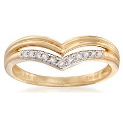 Diamond Chevron Ring in 18 Karat Gold-Plating