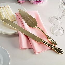 Personalized Gold Plated 50th Anniversary Cake Knife and Server