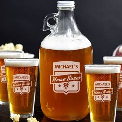 Home Brew Growler and Beer Glass Set
