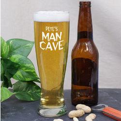 Engraved Man Cave Pilsner Glass
