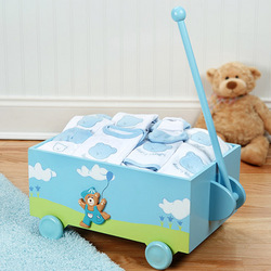 Welcome to the World Baby Wagon Gift Set in Blue
