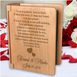 Personalized Love Never Fails Wooden Photo Album