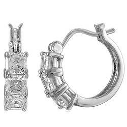"""Sterling Silver 3-Stone Asscher CZ 1/2"""" Hoop Earrings"""
