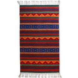 The Colors of My Village Zapotec Wool Rug