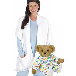 "15"" Pajamas Teddy Bear & White Cuddle Wrap Set"