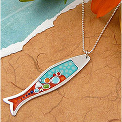 Sterling Silver & Fused Resin Fish Necklace
