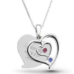 Sterling Couples Birthstone Heart Necklace