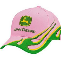 John Deere Ladies Pink/Green Visor Flame Cap