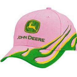John Deere Ladies Pink/Green Visor Flame Cap