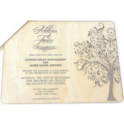 Elegant Tree Design Wood Wedding Invitation