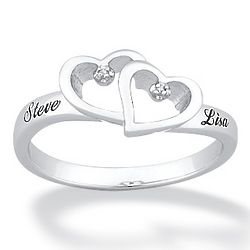 Platinum Over Sterling Silver Couple's Diamond Name Ring
