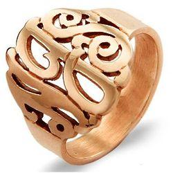 Rose Gold Vermeil Custom Monogram Ring