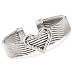 Diamond Accent Heart Cuff Bracelet in Stainless Steel