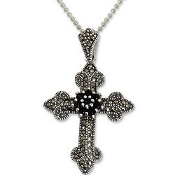 Cathedral Cross Onyx and Marcasite Pendant