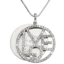 Engraved Cubic Zirconia Love Necklace