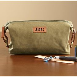 Personalized Canvas and Leather Toiletry Bag