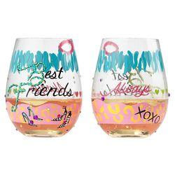 2 Best Friends Stemless Wine Glasses