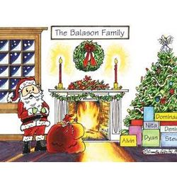 Christmas with Santa Personalized Friendly Folks Cartoon