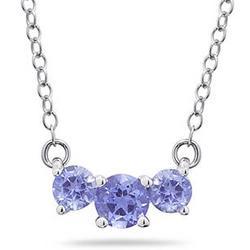 Tanzanite Three Stone Pendant Necklace in 14K White Gold