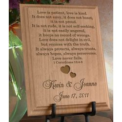 Personalized Love Never Fails Wooden Plaque