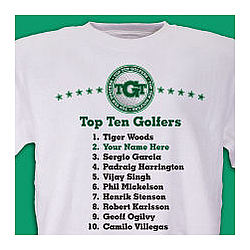 Personalized Top Ten Golf T-Shirt