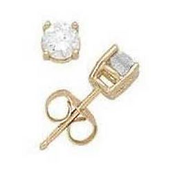 1/10ct Round Diamond Solitaire Earrings in 14k Yellow Gold