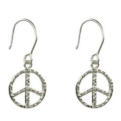 Hammered Sterling Silver Petite Dangling Peace Sign Earrings