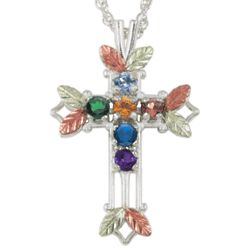 Gold on Sterling Family Birthstone Cross Pendant