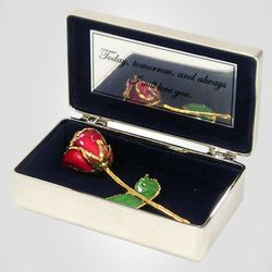 24K Gold Promise Rose in Silver Cherish Box