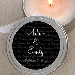 Personalized Love Is Patient Candle Tin Wedding Favors